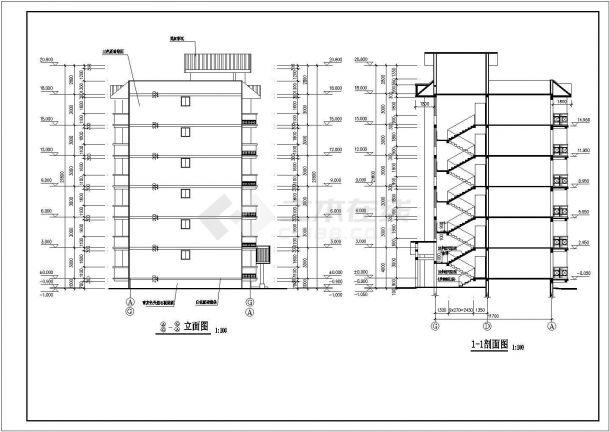 北京丰台区某干部家属院2100平米6层砖混结构住宅楼建筑设计CAD图纸-图二