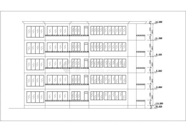 厦门市学校家属区5层砖混结构住宅楼平立面设计CAD图纸-图一
