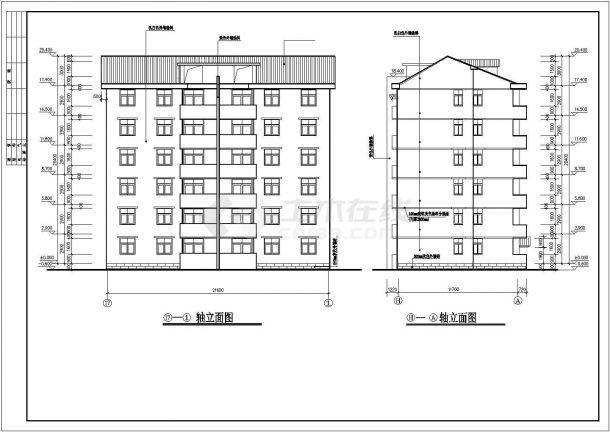 汉中市澜福花园小区1520平米6层砖混结构住宅楼建筑设计CAD图纸-图一