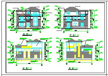 一整套别墅建筑设计cad平立剖施工方案图(附效果图)-图二