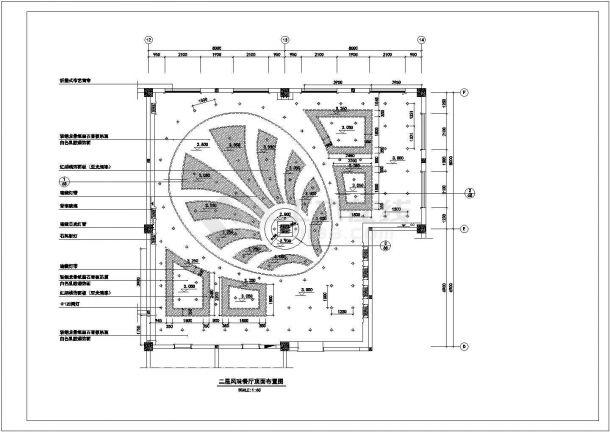 某特色餐厅时尚风格室内装修设计cad全套施工图-图二
