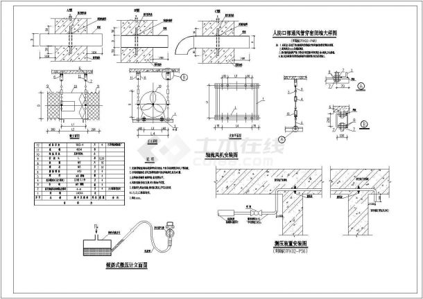某大型商办楼防空地下室通风及防排烟系统设计cad全套施工图( 含设计说明,含人防设计)-图二