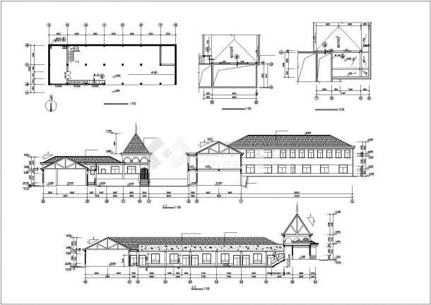 某地幼儿园全套建筑施工设计cad图(含总平面布置图,立面图)-图一