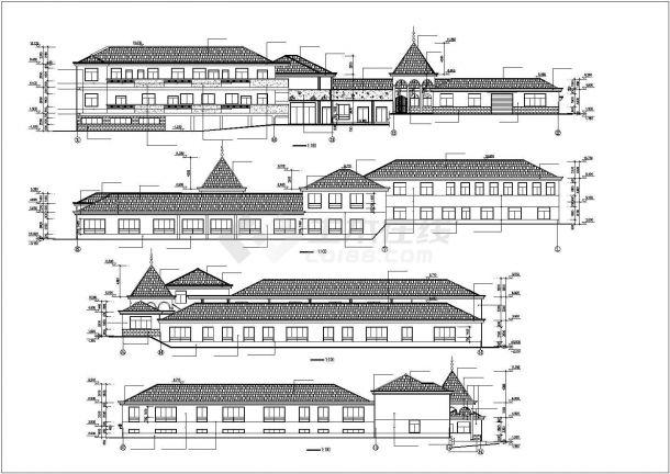 某地幼儿园全套建筑施工设计cad图(含总平面布置图,立面图)-图二