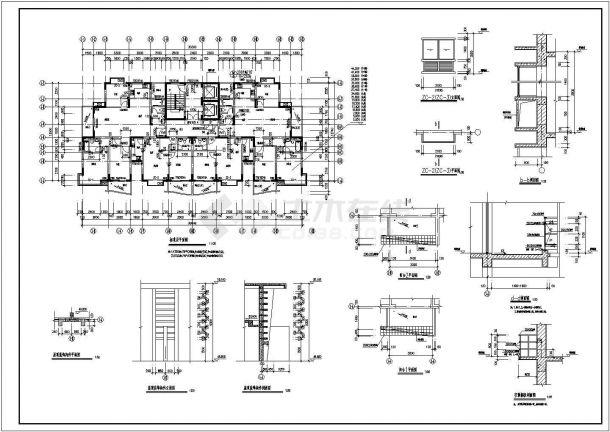 某地区老街印象小区高层两梯四户点式住宅楼建筑工程设计全套施工图(含平立剖)-图一