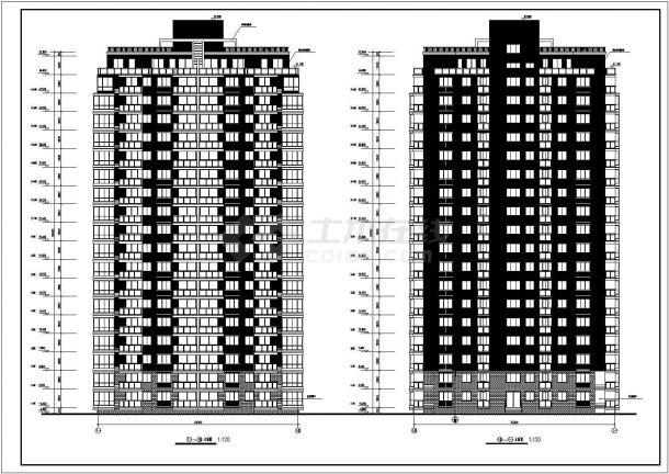 某地区老街印象小区高层两梯四户点式住宅楼建筑工程设计全套施工图(含平立剖)-图二