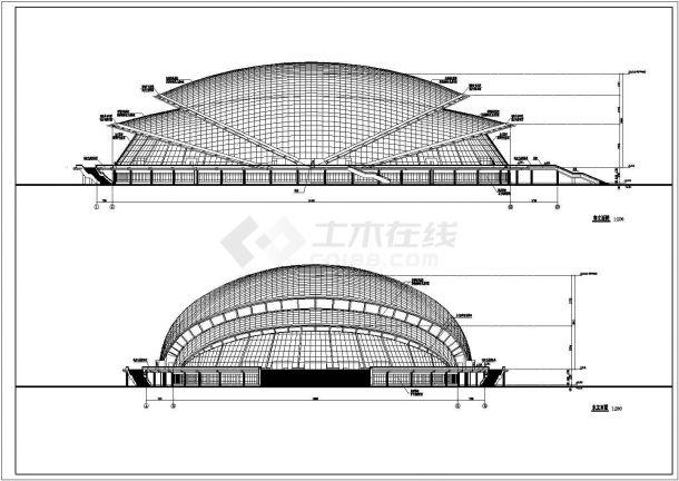 装修设计江西省某沿海地带体育馆CAD设计施工图纸-图一