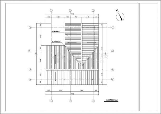 【南通】1层园林公厕全套施工设计图纸(一层平面 屋顶平面 四个立面图 三个剖面图)-图一