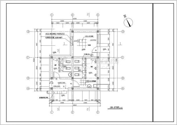 【南通】1层园林公厕全套施工设计图纸(一层平面 屋顶平面 四个立面图 三个剖面图)-图二