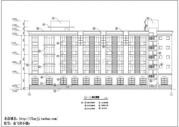 某地区师范大学附属中学五层餐厅宿舍综合楼建筑方案设计施工图(含各楼层设计说明)-图二