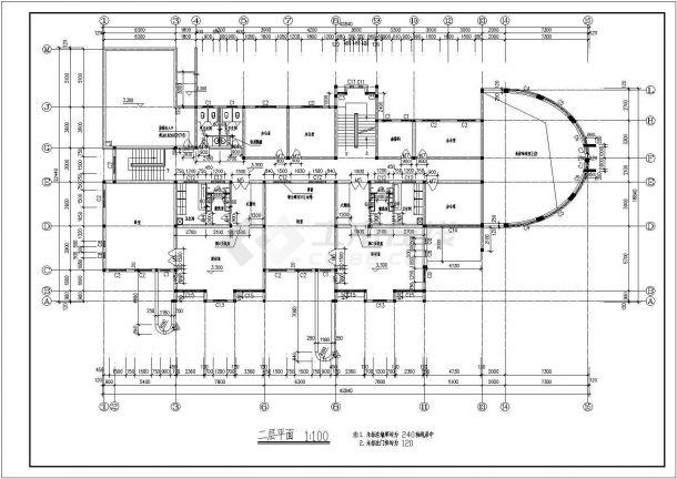 幼儿园设计_某三层中小型幼儿园设计CAD图-图二