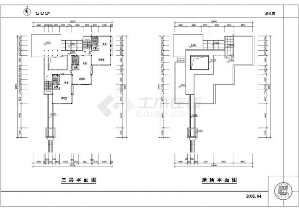 幼儿园设计_某地区三层中小型幼儿园设计CAD图-图一