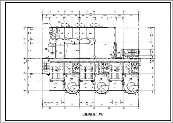 幼儿园设计_某中型三层幼儿园设计CAD图-图二