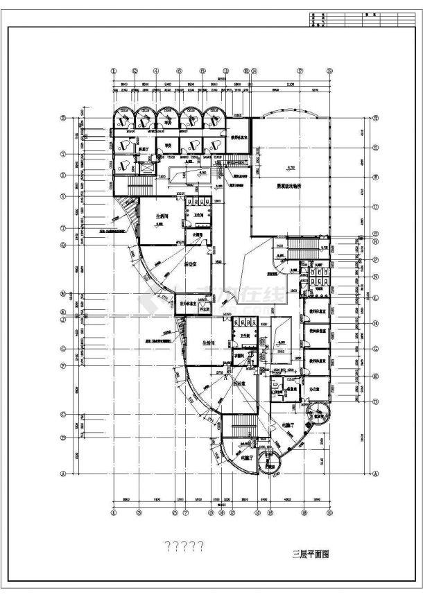 幼儿园设计_某地区三层中型幼儿园设计CAD图-图二