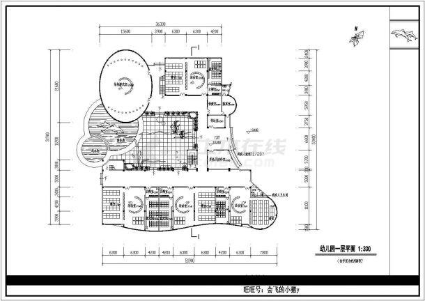 幼儿园设计_某地区梯形四层幼儿园设计CAD图-图二