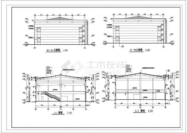 厂房设计_多层厂房建筑施工图 cad图纸-图二