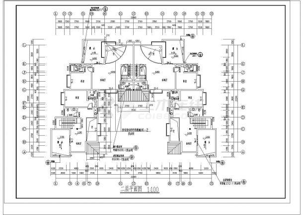 某城市度假村凸型房屋建筑设计CAD祥图-图二