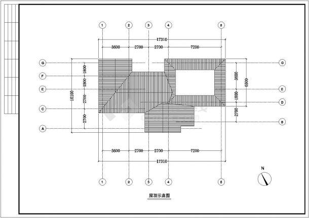 沛县某地公园景区小型公厕全套建筑施工设计cad图-图一