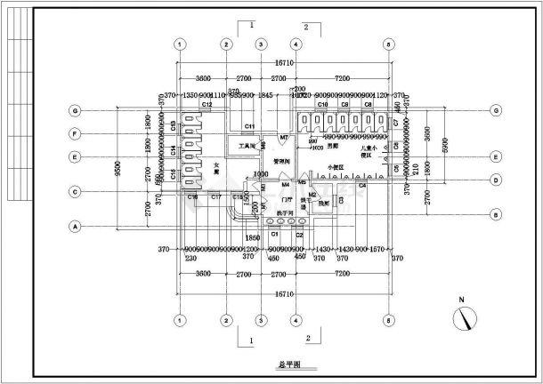 沛县某地公园景区小型公厕全套建筑施工设计cad图-图二