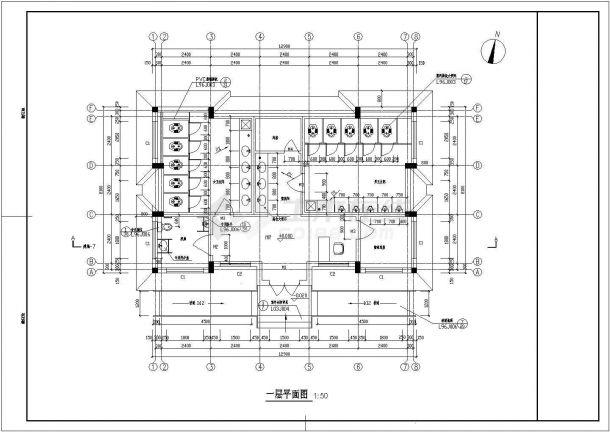 【常熟】某小型菜市场公厕全套建筑施工设计cad图-图二
