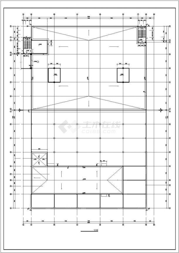 厂房设计_长91米 宽65.5米 4+1夹层大型厂房建筑施工图【平立剖 节点详图】CAD设计施工图纸-图二