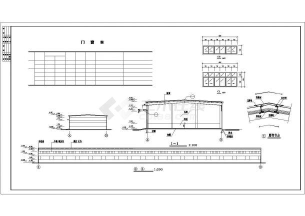厂房设计_长108.93米 宽18米 单层厂房建筑施工图【平立剖 窗大样 屋脊节点】CAD设计施工图纸-图二