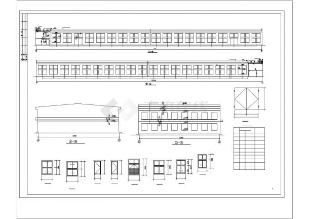 厂房设计_2层面粉厂房建筑施工图【平立剖 楼梯 门窗卫生间大样】CAD设计施工图纸-图一