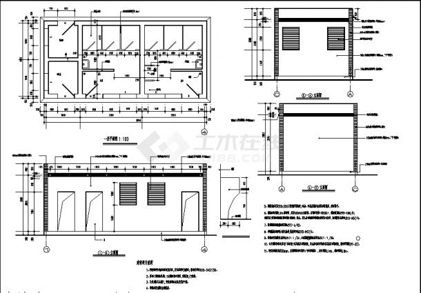 嘉杰国际广场1层公共厕所建筑设计施工cad图纸-图一