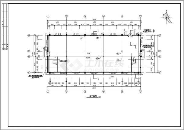 厂房设计_2层740.28平米精密仪表厂房建筑施工图【平立剖 楼梯 节点大样】CAD设计施工图纸-图一