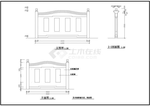 【南通】某地花洲古渡公园全套景观施工设计cad图纸-图二