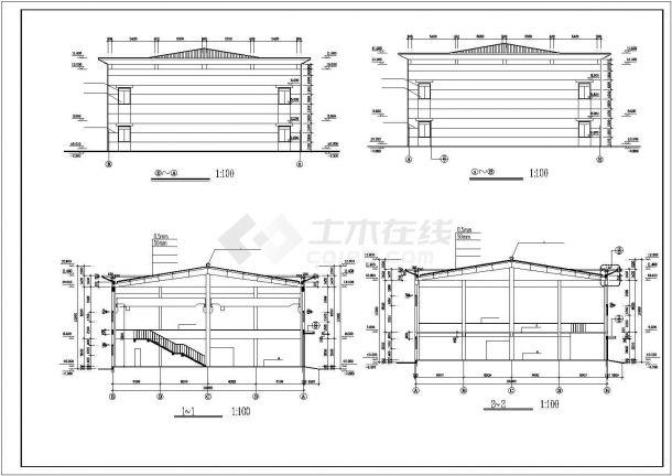 厂房设计_2层厂房建筑施工图【平立剖 楼梯门窗大样】CAD设计施工图纸-图一