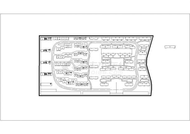 某长方形地块居民小区规划设计cad总平面施工图-图一