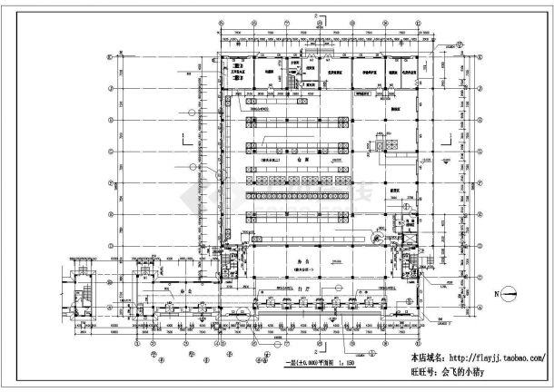 厂房设计_长64.68米 宽59.6米 3层厂房建筑施工图CAD设计施工图纸-图二