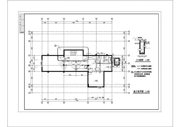 扬州市晋安新村某2层砖混结构单体别墅建筑设计CAD图纸(含地下室)-图一