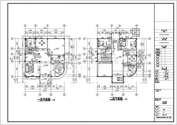 淮安市某小区412平米3层框混结构私人别墅建筑设计CAD图纸(含结构图)-图一