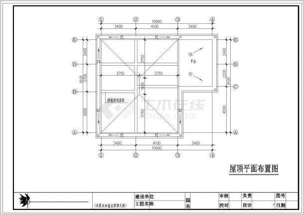 扬州某村镇3层砖混结构单体乡村别墅建筑设计CAD图纸(占地104平米)-图一