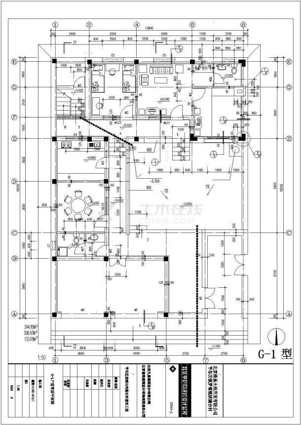 济南市某现代村镇206平米双层混合结构单体别墅建筑设计CAD图纸-图二