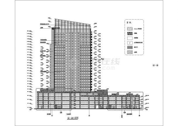 某高层框架结构商业楼玻璃幕墙设计cad立面施工图-图一