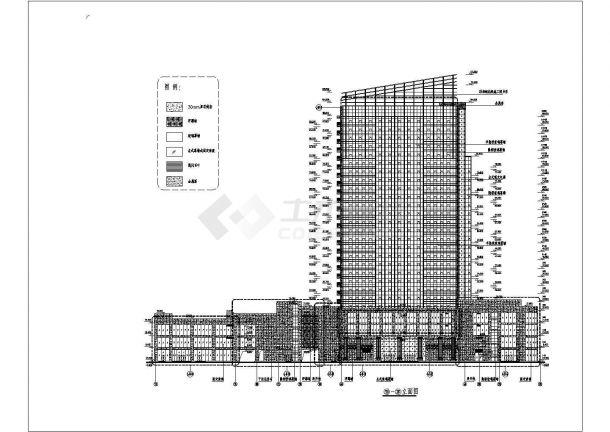 某高层框架结构商业楼玻璃幕墙设计cad立面施工图-图二