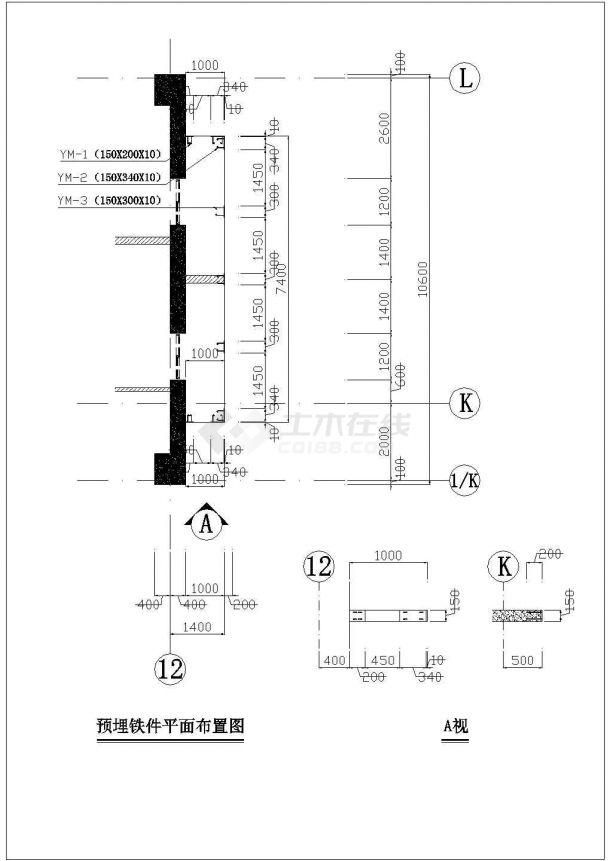 某框架结构高层商务办公楼玻璃幕墙设计cad立面施工图-图一
