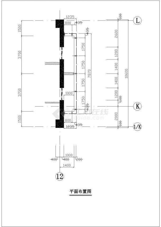 某框架结构高层商务办公楼玻璃幕墙设计cad立面施工图-图二