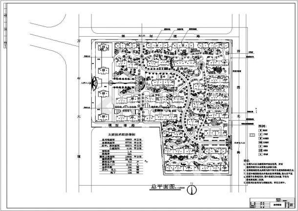 江苏某小区景观设计cad 图纸(含主要经济技术指标,含平面图)-图一