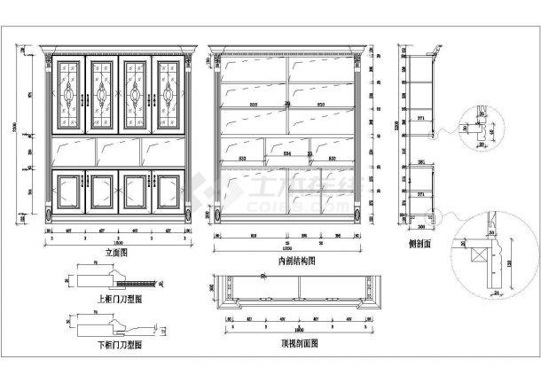 典型欧式酒柜装修设计cad全套施工图(含12套设计)-图一