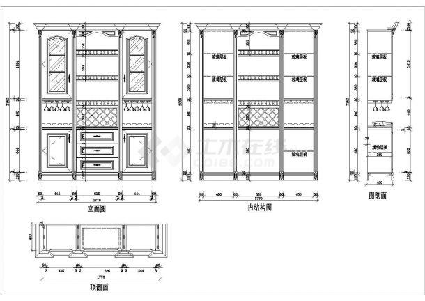 典型欧式酒柜装修设计cad全套施工图(含12套设计)-图二