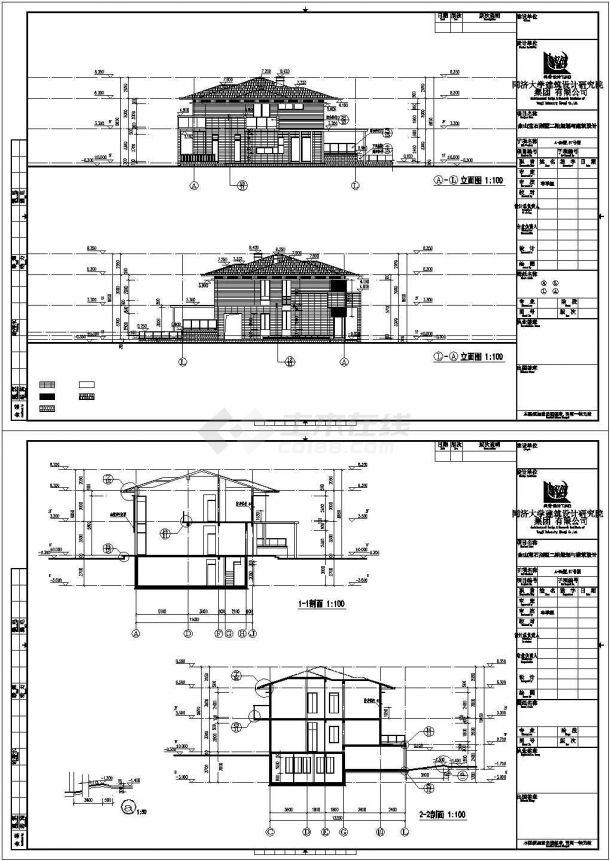 长沙市泉北新村某498平米2层框架结构单体别墅建筑设计CAD图纸-图一