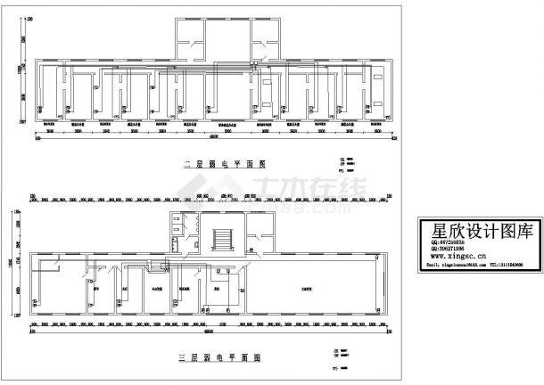 某三层综合楼电气施工cad图(含弱电设计)-图一