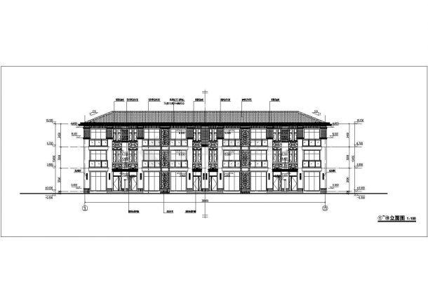 郑州某小区1410平米三层砖混结构组合式民居别墅楼建筑设计CAD图纸-图一