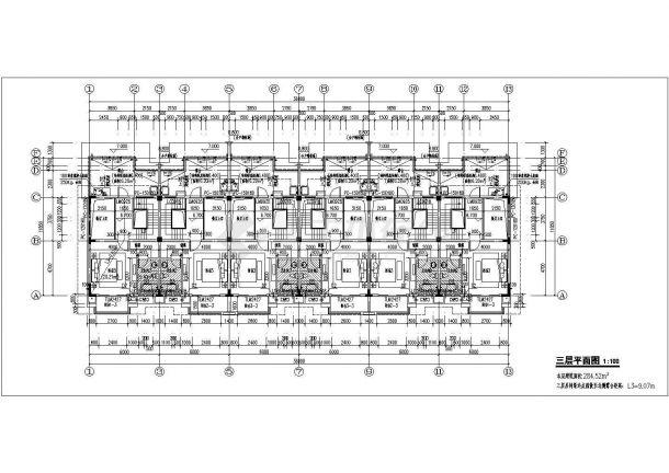 郑州某小区1410平米三层砖混结构组合式民居别墅楼建筑设计CAD图纸-图二