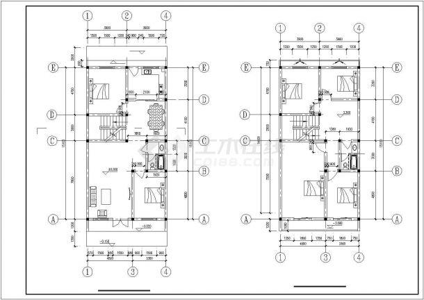 嘉兴市郑家村某3层砖混结构单体乡村别墅建筑设计CAD图纸(含结构图)-图二
