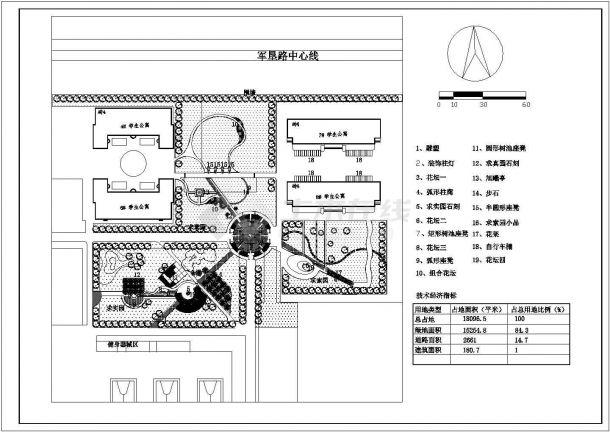 芜湖市南街中学校区总平面规划设计CAD图纸(占地1.8万平米)-图一